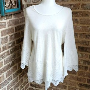 Adrianna Papell White Bell Sleeve Lacey Blouse